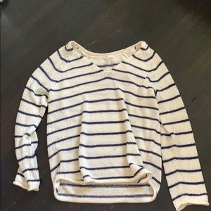 Striped blue and white light sweater